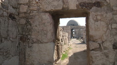 Doorway of citadel in Amman city Jordan - stock footage