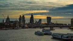London city time lapse at sunset Stock Footage