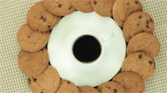 Cookies and cup of coffee - stock footage