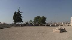 Outside of citadel Amman pan - stock footage