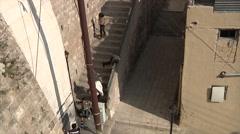 People walking down the stairs in Amman city Jordan - stock footage