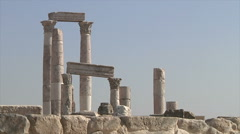 Ruins pillars Amman city Jordan Stock Footage