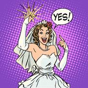 Happy bride with a wedding ring - stock illustration