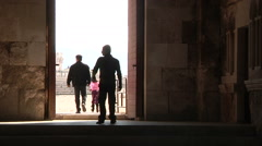 People walking out of Citadel Amman Stock Footage