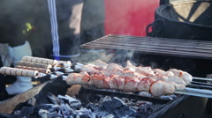 Shish kebab is prepared on the grill grate Stock Footage