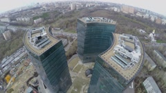 Business complex Lotos against cityscape with traffic Stock Footage