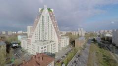 Residential complex Pyramid on Dmitry Uljanov Street at spring Stock Footage