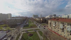 Transport traffic on Dmitry Uljanov Street at spring sunny day Stock Footage
