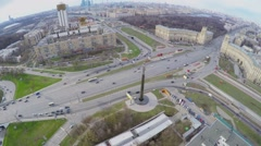 Cityscape with transport traffic near monument of Yuriy Gagarin Stock Footage