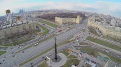 Street traffic near monument of Yuriy Gagarin Stock Footage