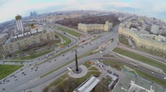 Megalopolis with road traffic near monument of Yuriy Gagarin - stock footage