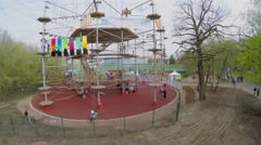 Tall Rope Park Skytown with people in VDNH park at spring day Stock Footage