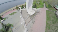 Monument Ladya on quay at spring sunny day. Aerial view Stock Footage