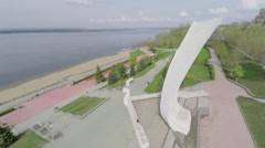 Monument Ladya on embankment of Volga river at spring Stock Footage