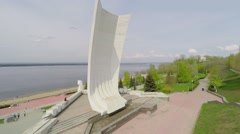 Monument of Ladya on embankment at spring sunny day. Stock Footage