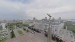 Monument of Glory against cityscape at spring sunny day Stock Footage