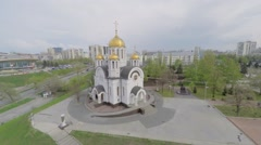 Cathedral of St. George near residential houses at spring Stock Footage