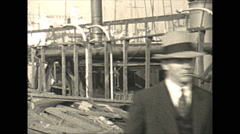 Vintage 16mm film, 1934, Sailboat, Uvera yacht in drydock #4 Stock Footage