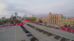 Troops formations on square during rehearsal of parade Stock Footage