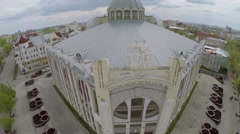 Edifice of State Philharmonic of Samara at spring day. Aerial view - stock footage