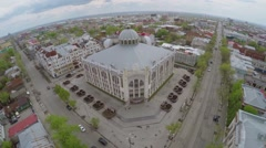 Townscape with entrance of State Philharmonic of Samara Stock Footage