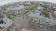City panorama with edifice of State Philharmonic of Samara - stock footage