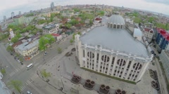 Cityscape with edifice of State Philharmonic of Samara - stock footage