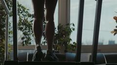 Female Legs Running on Treadmill Stock Footage
