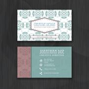 Vintage floral business card template for personal or professional use with f Stock Illustration