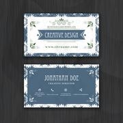 Floral horizontal business card template. Design for personal or professional Stock Illustration