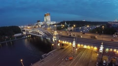 Transport traffic on quay near Novoandreevsky bridge at spring Stock Footage