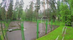 Sports playground on territory of health centre Malahovka at summer Stock Footage