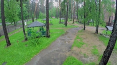 Several arbours on territory of health centre Malahovka at summer Stock Footage