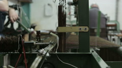 Harris Tweed being woven from yarn in a local mill on the Isle of Harris - stock footage