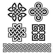 Celtic Irish patterns and braids - vector - stock illustration