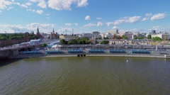 Quay with track of Formula E racing not far from Kremlin complex - stock footage