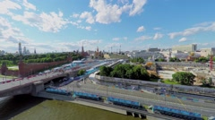Cityscape with track of Formula E racing on quay - stock footage