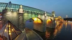 Pedestrian bridge Pushkinsky with glass roof and illumination Stock Footage