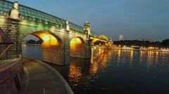 Rhomb shape lantern on quay near pedestrians bridge Pushkinsky Stock Footage