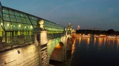 Pushkinsky bridge with people walk under glass roof Stock Footage
