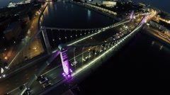 Transport move by Crimean bridge at summer evening. Aerial view Stock Footage