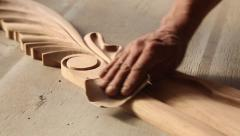 Carpenter workpieces made of wood with sandpaper Stock Footage