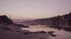 Dusk over the Ganges river Stock Footage