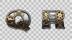 Stock Video Footage of mechanical alphabet with rotate gears rendered in PNG with alpha channel