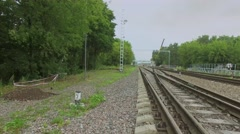 Several track of railway near Bogorodsky viaduct at summer Stock Footage