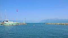 Boat Leaving Dock Lake Geneva Stock Footage