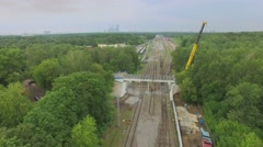 Reconstruction of Bogorodsky viaduct and MKZD railway tracks Stock Footage