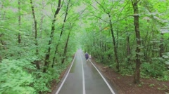 Several people on road in park at summer day. Stock Footage