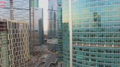 Skyscrapers complex Moskva City on quay of Moskva river Stock Footage