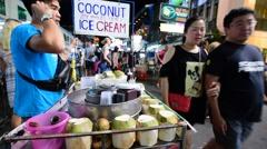 Ice cream seller on Khao San road in BKK city Stock Footage